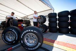 Bridgestone tyre fitters at work