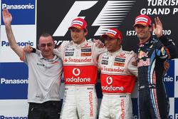 Podium: race winner Lewis Hamilton, McLaren Mercedes, second place Jenson Button, McLaren Mercedes,