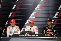 Jenson Button, McLaren Mercedes, Lewis Hamilton, McLaren Mercedes, Mark Webber, Red Bull Racing