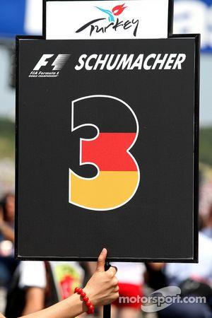 The grid board of Michael Schumacher, Mercedes GP