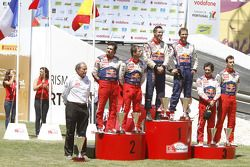 Podium: winners Sébastien Ogier and Julien Ingrassia, second place Sébastien Loeb and Daniel Elena,