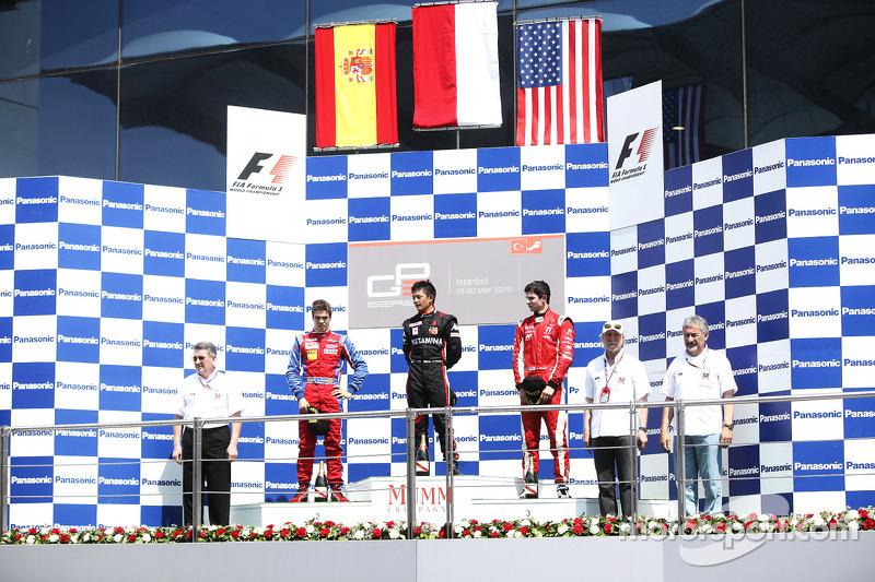 Rio Haryanto berhasil mengumandangkan lagu Indonesia Raya, di podium Race 2 GP3 Turki 2010.