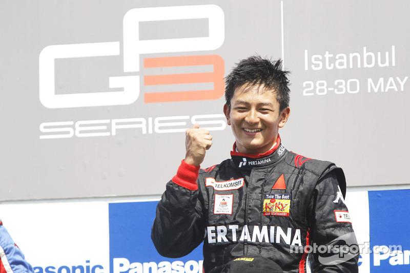Raut kegembiraan Rio Haryanto meraih kemenangan pertamanya di GP3.