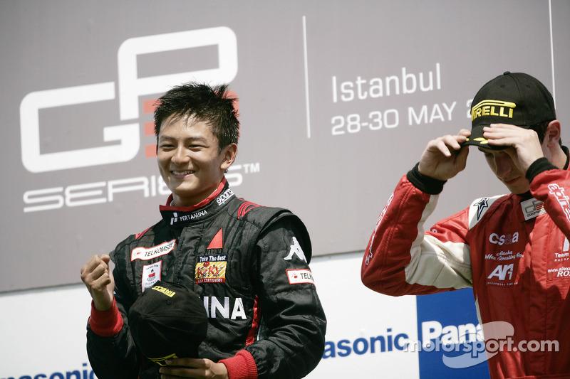 Rio Haryanto tidak bisa menyembunyikan kegembiraanya di podium.