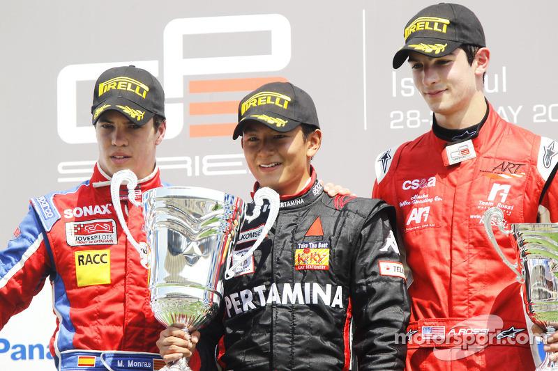 Rio Haryanto bersama Miki Monras dan Alexander Rossi di podium.