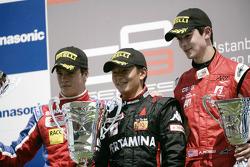 Rio Haryanto viert overwinning op het podium met Alexander Rossi en Miki Monras