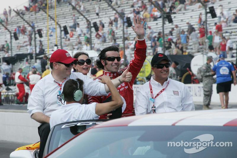 Chip Ganassi, Ashley Judd en Dario Franchitti, Target Chip Ganassi Racing vieren de overwinning van