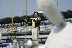 Perdue Drum Major conducts the band in Victory Circle