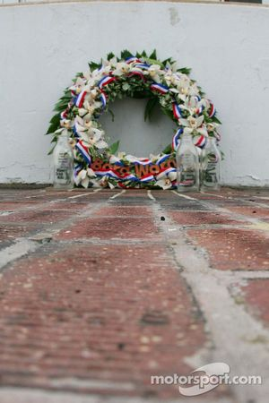 The winner's wreath & the empty jugs of milk sit on the yard of bricks at the Indianapolis Motor Spe
