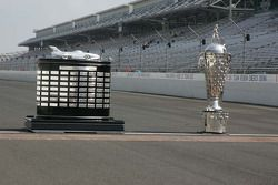 The Harely J. Earl Trophy and the Borg-Warner Trophy sit at the famous Yard of Bricks at the Indiana