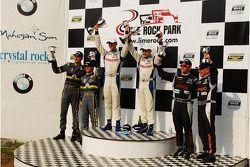 GT podium: John Edwards, Adam Christodoulou SpeedSource Mazda RX-8, James Gue, Lea Keen Dempsey Racing Mazda RX-8 and Emil Assentato, Jeff Segal SpeedSource Mazda: RX-8