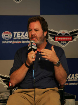Eddie Gossage answers questions from the media