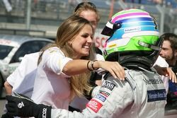 Race winner Bruno Spengler, Team HWA AMG Mercedes C-Klasse celebrates with girlfriend Franziska Niko