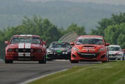 #03 Team MER Mazda Speed 3: Jason Saini, Justin Piscitell, #54 Jim Click Racing Ford Mustang GT: Jim Click, Mike McGovern