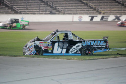 Joe Aramendia, Koma-unwind Chillaxation Drink Cheverolet sits in the infield grass after an accident