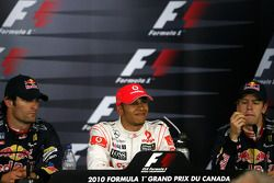 Mark Webber, Red Bull Racing, Lewis Hamilton, McLaren Mercedes and Sebastian Vettel, Red Bull Racing