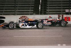 Mario Moraes, KV Racing Technology forces Helio Castroneves, Team Penske into the wall