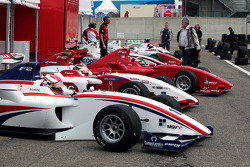Formula Two cars wait in the Zolder pit lane