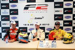 Qualifying 1 press conference: pole winner Dean Stoneman with second place Kazim Vasiliauskas and th