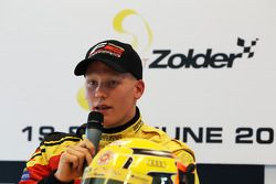 Race 2 pole sitter Benjamin Bailly in the press conference
