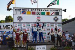 DP podium: class and overall winners Scott Pruett and Memo Rojas, second place Oswaldo Negri and Joh