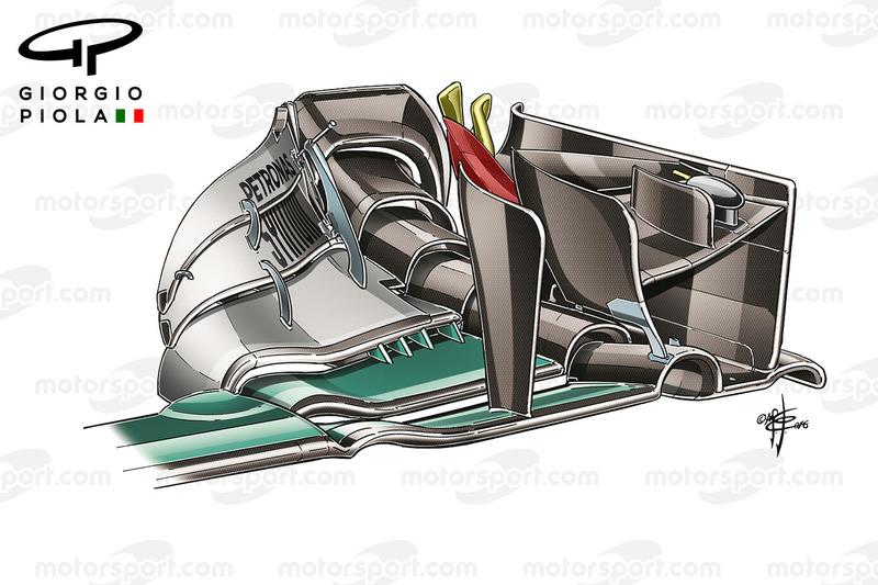 Une ailette de la Mercedes W07 à Barcelone, colorée