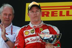 Kimi Raikkonen, Ferrari celebrates his second position on the podium