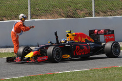 Race winner Max Verstappen, Red Bull Racing RB12 celebrates at the end of the race