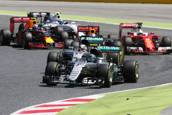 Nico Rosberg, Mercedes AMG F1 W07 Hybrid leads team mate Lewis Hamilton, Mercedes AMG F1 W07 Hybrid at the start of the race