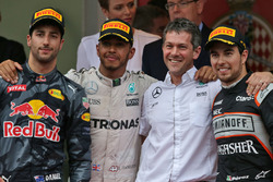 The podium,: Daniel Ricciardo, Red Bull Racing, second; Lewis Hamilton, Mercedes AMG F1, race winner; Sergio Perez, Sahara Force India F1, third