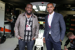 (L to R): Dominique Siby, Felio Siby CEO with Theo Walcott, Football Player, guests of the Sahara Force India F1 Team