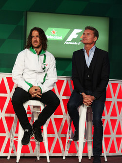 (L to R): Carles Puyol, Former Football Player and David Coulthard, Red Bull Racing and Scuderia Toro Advisor / Channel 4 F1 Commentator, at a Heineken sponsorship announcement