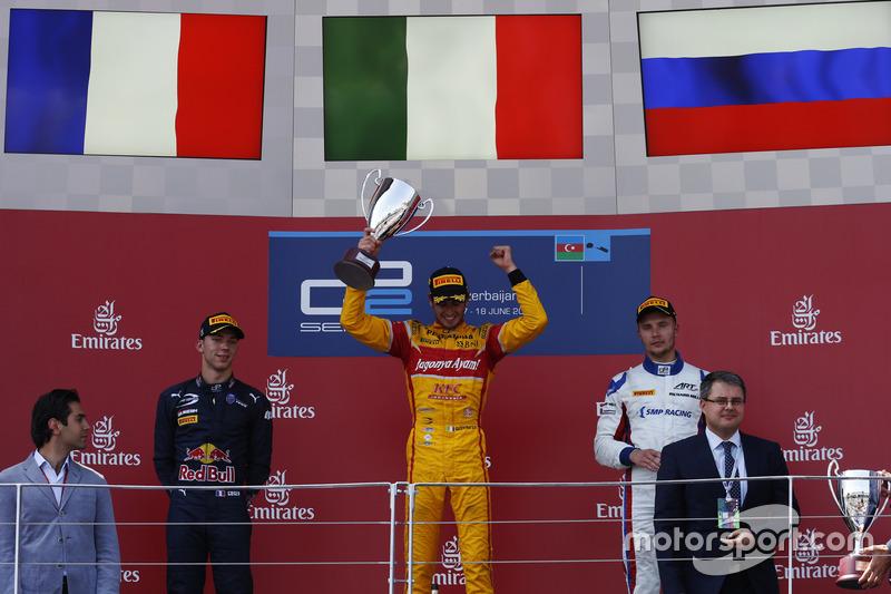 Podio: ganador de la carrera Antonio Giovinazzi, PREMA Racing, segundo lugar Pierre Gasly, PREMA Racing & tercer lugar Sergey Sirotkin, ART Grand Prix