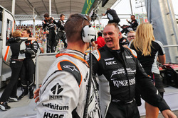 The Sahara Force India F1 Team celebrate third position for Sergio Perez, Sahara Force India F1 at the end of the race