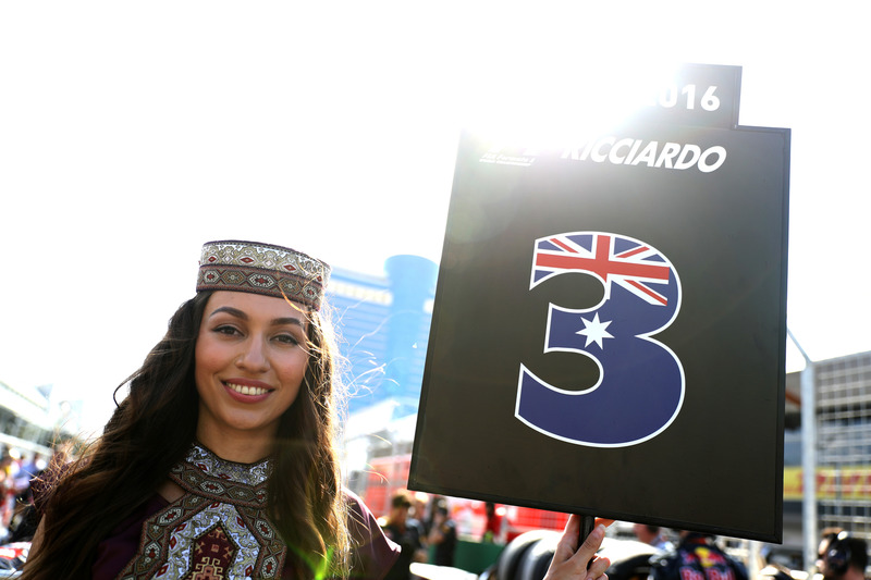 The grid girl of Daniel Ricciardo, Red Bull Racing
