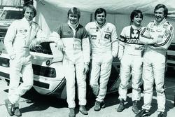 Jacques Laffite, Didier Peroni, Alan Jones, Nelson Piquet e Carlos Reutemann em Zolder, em 13 de maio de 1979