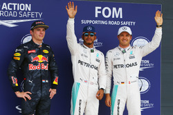 Qualifying top three in parc ferme (L to R): Max Verstappen, Red Bull Racing, third; Lewis Hamilton, Mercedes AMG F1, pole position; Nico Rosberg, Mercedes AMG F1, second