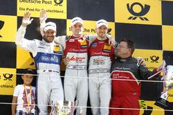 Podium: Race winner Jamie Green, Audi Sport Team Rosberg, Audi RS 5 DTM; second place Gary Paffett, Mercedes-AMG Team ART, Mercedes-AMG C63 DTM; third place Edoardo Mortara, Audi Sport Team Abt Sportsline, Audi RS 5 DTM