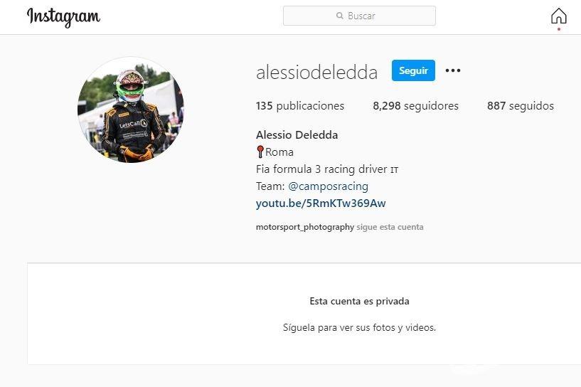 Captura del perfil privado de Alessio Deledda