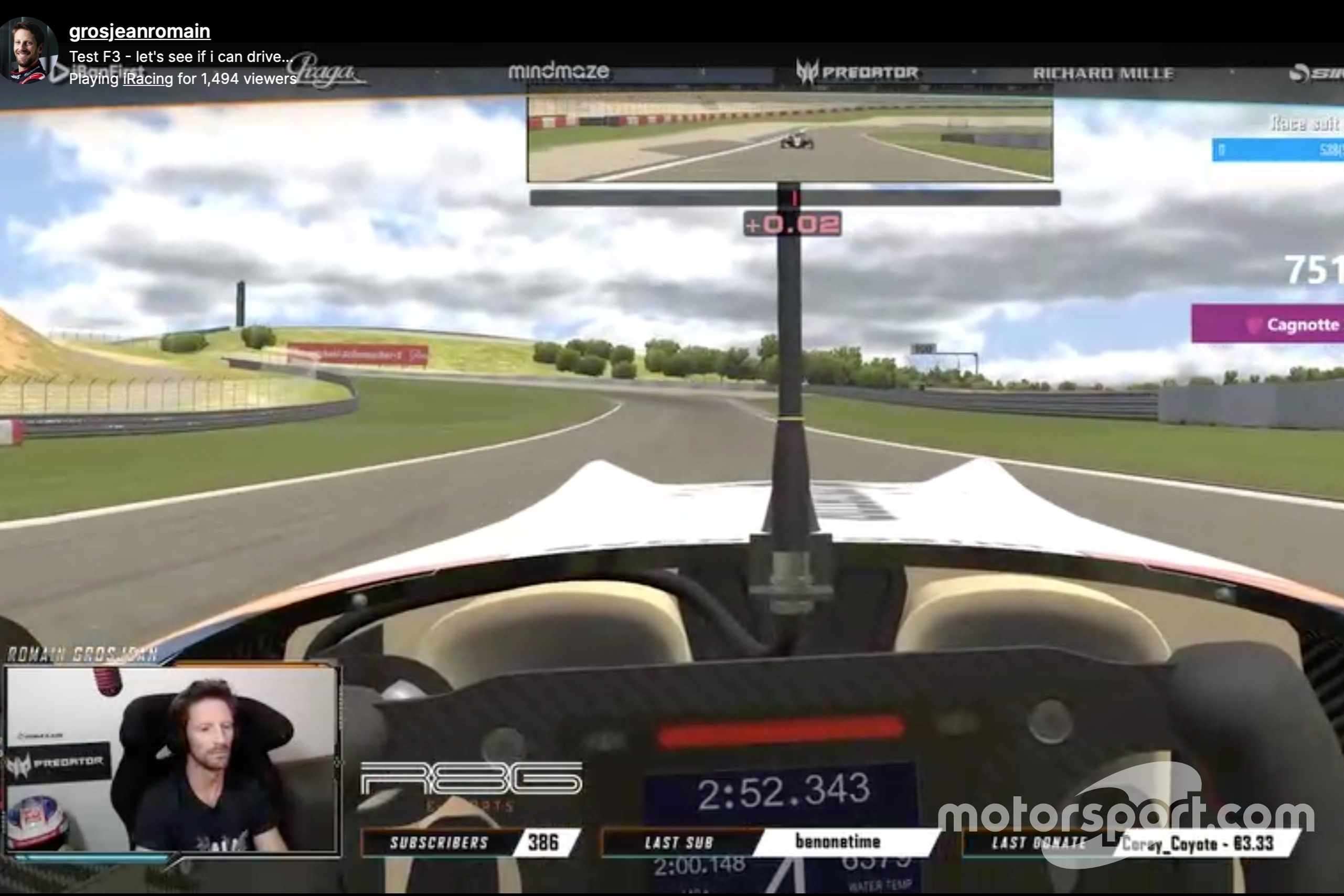 Romain Grosjean racing on iRacing