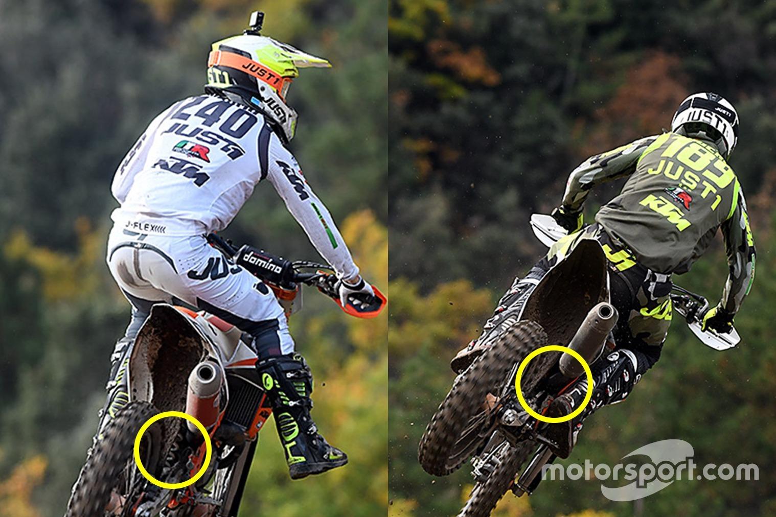 A la izquierda, el muelle de la suspensión es claramente visible en el compañero de equipo de Bogers y piloto de MX2 Kevin Horgmo, mientras que a la derecha, desde la misma perspectiva, no se ve ningún muelle. Eso indica el uso de la suspensión neumática.