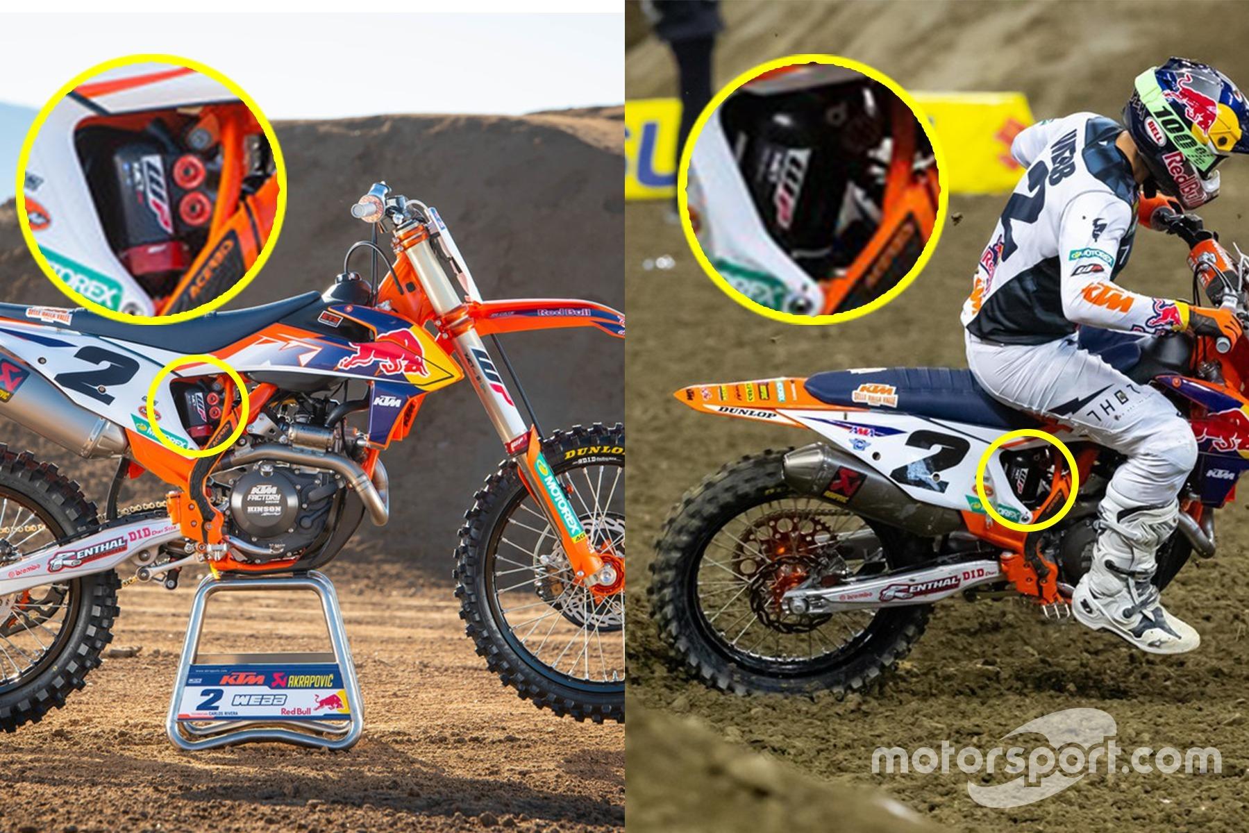Dos tomas de la moto de Cooper Webb: a la izquierda, durante la sesión de fotos oficial de KTM con muelle convencional y a la derecha, durante la carrera de Supercross en Indianápolis, donde utiliza la suspensión neumática.