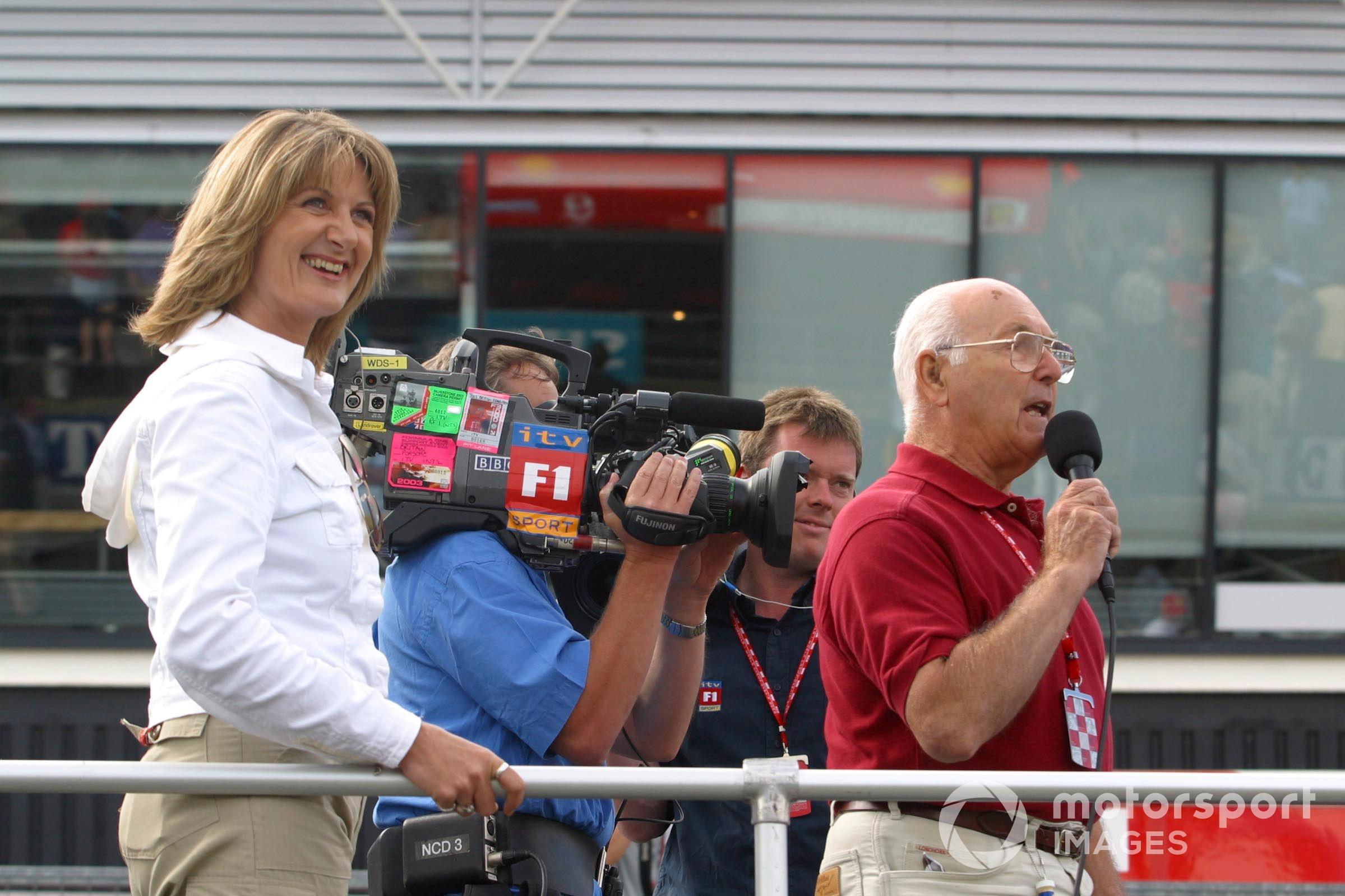 Murray Walker on ITV duty with Louise Goodman