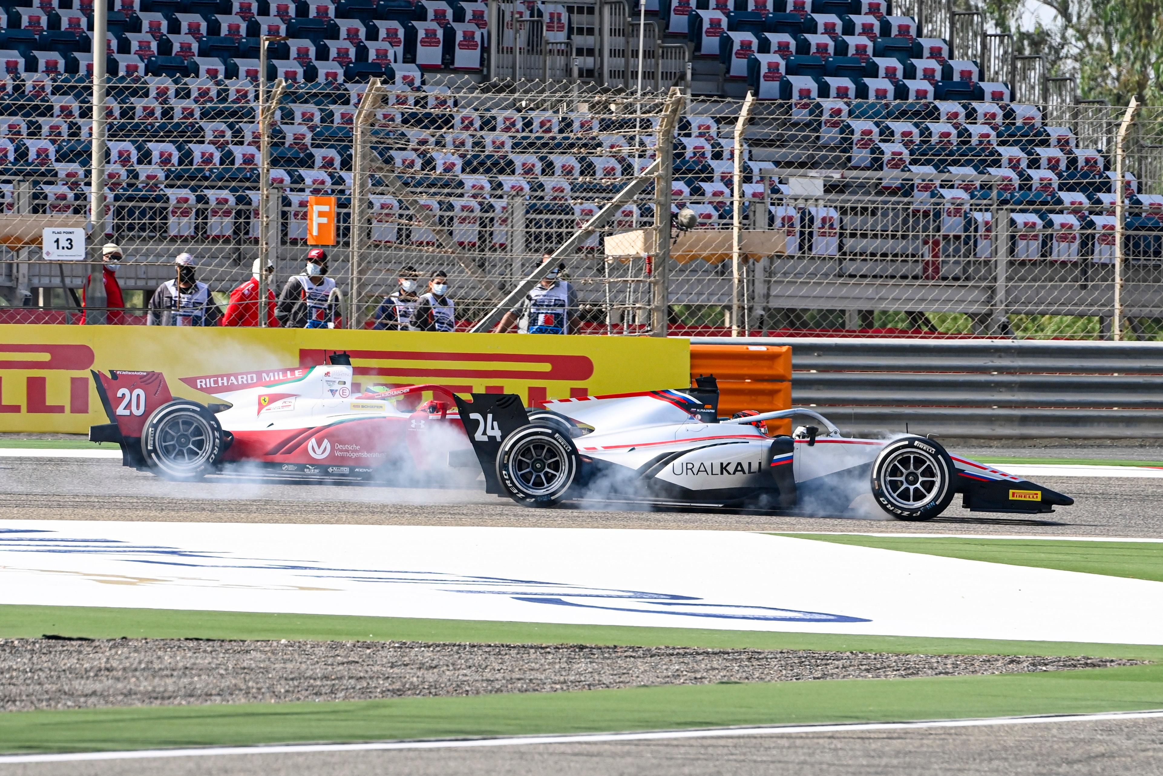 Mick Schumacher and Nikita Mazepin battle in F2 in 2020