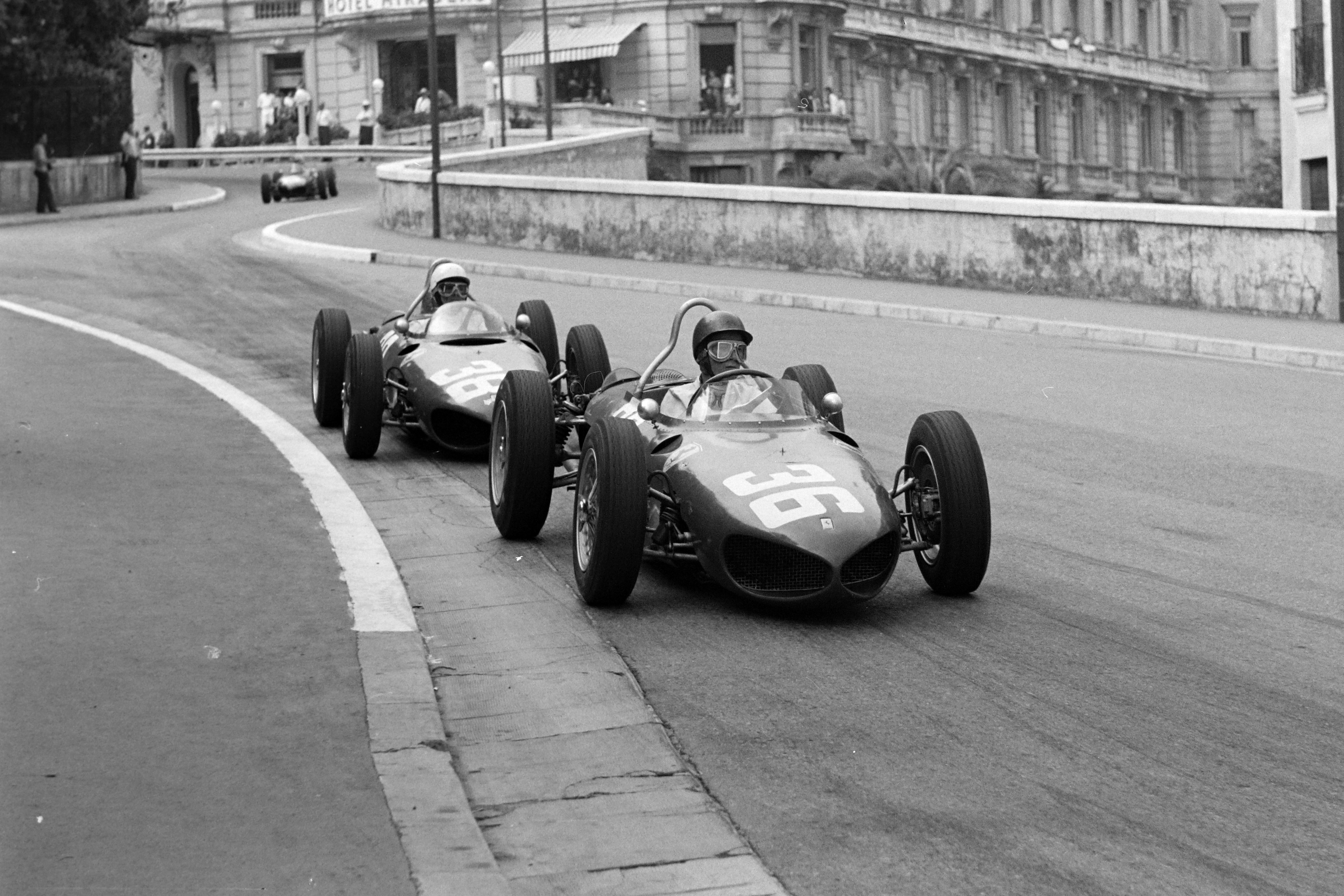 Ginther clears P Hill and sets off after Moss, 1961 Monaco GP