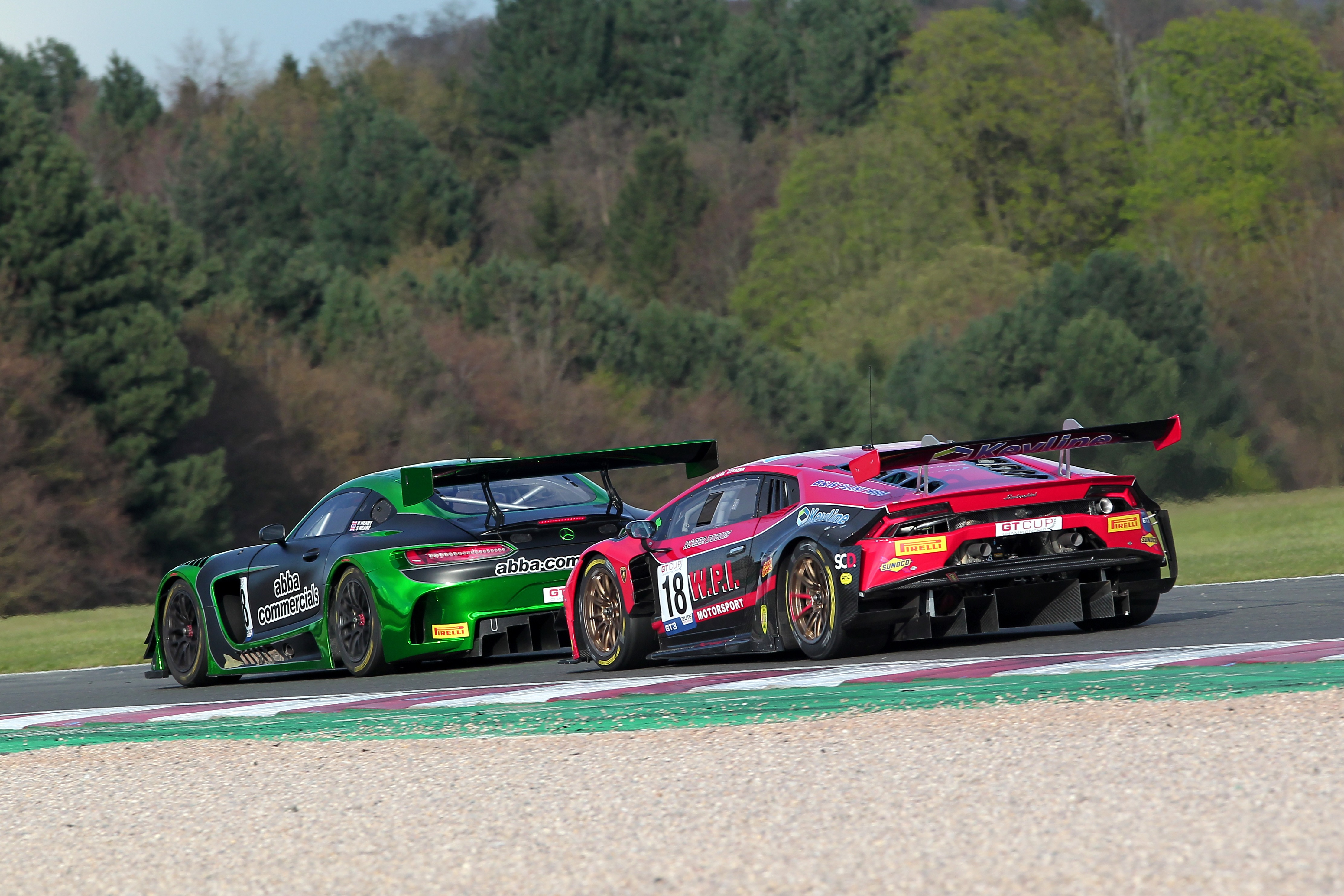 The Abba Mercedes battled the WPI Lamborghini for much of the weekend