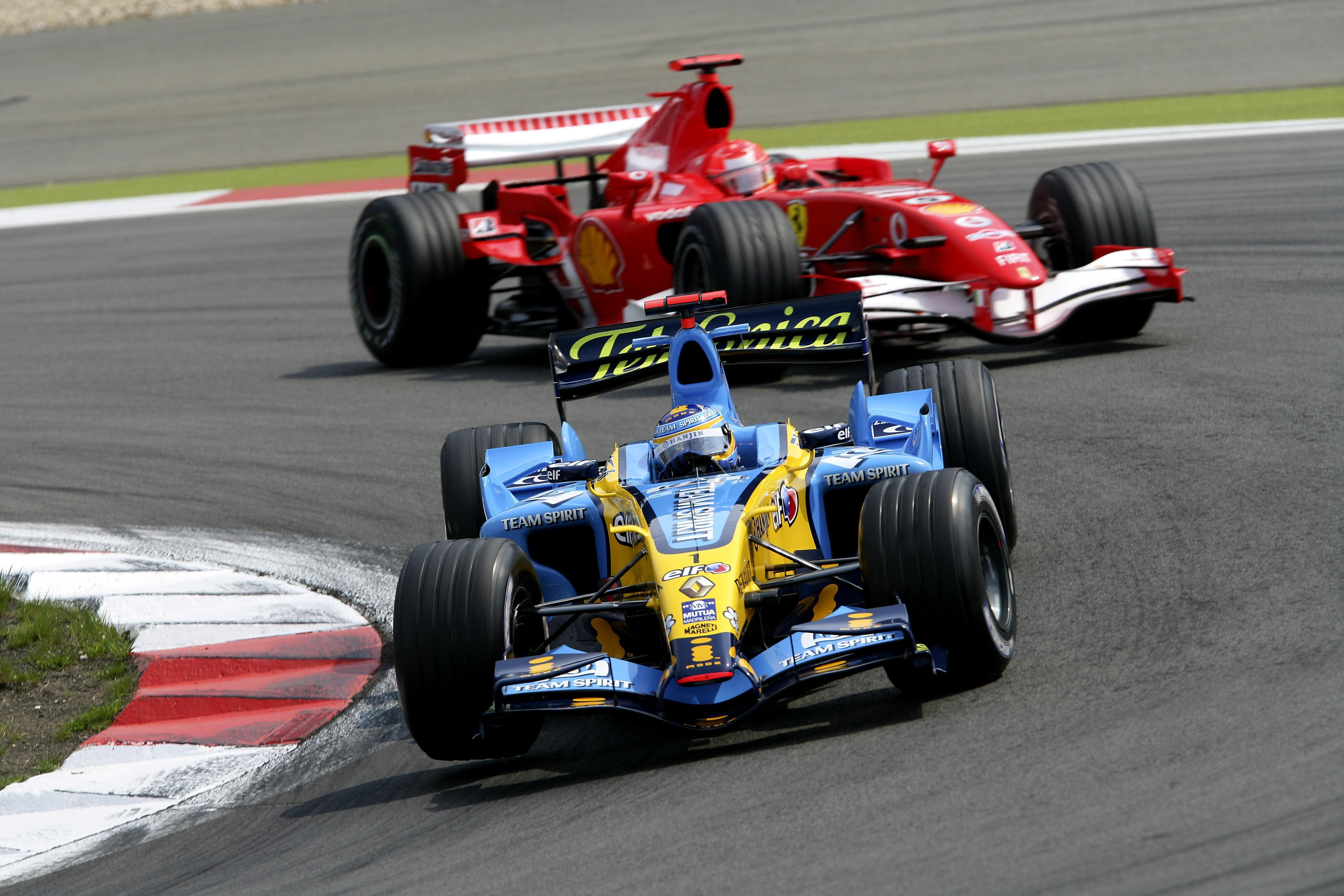 Fernando Alonso, Michael Schumacher en el GP de Europa 2006