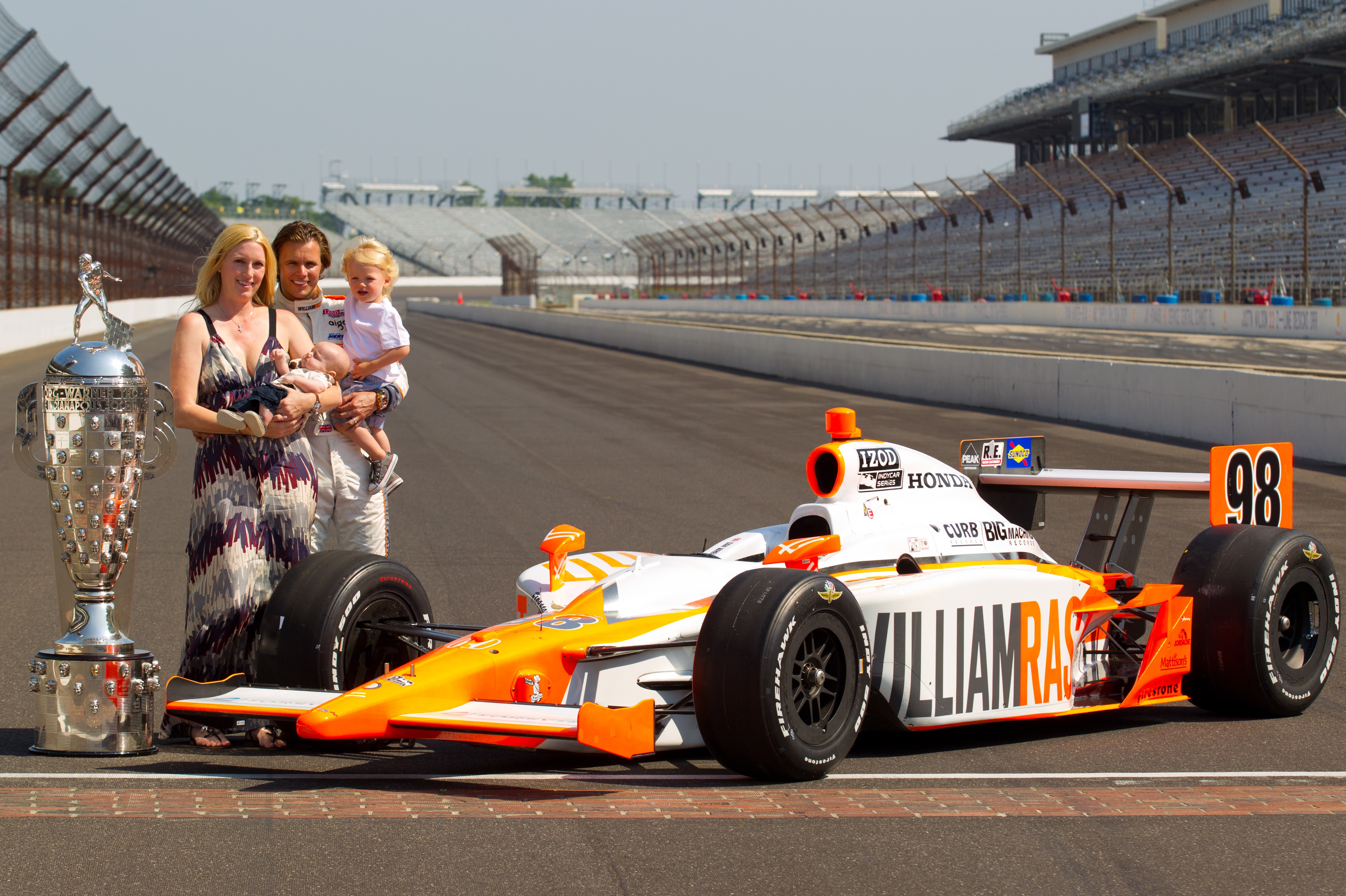 Dan and Susie Wheldon with Sebastian and Oliver, 2011 Indy 500