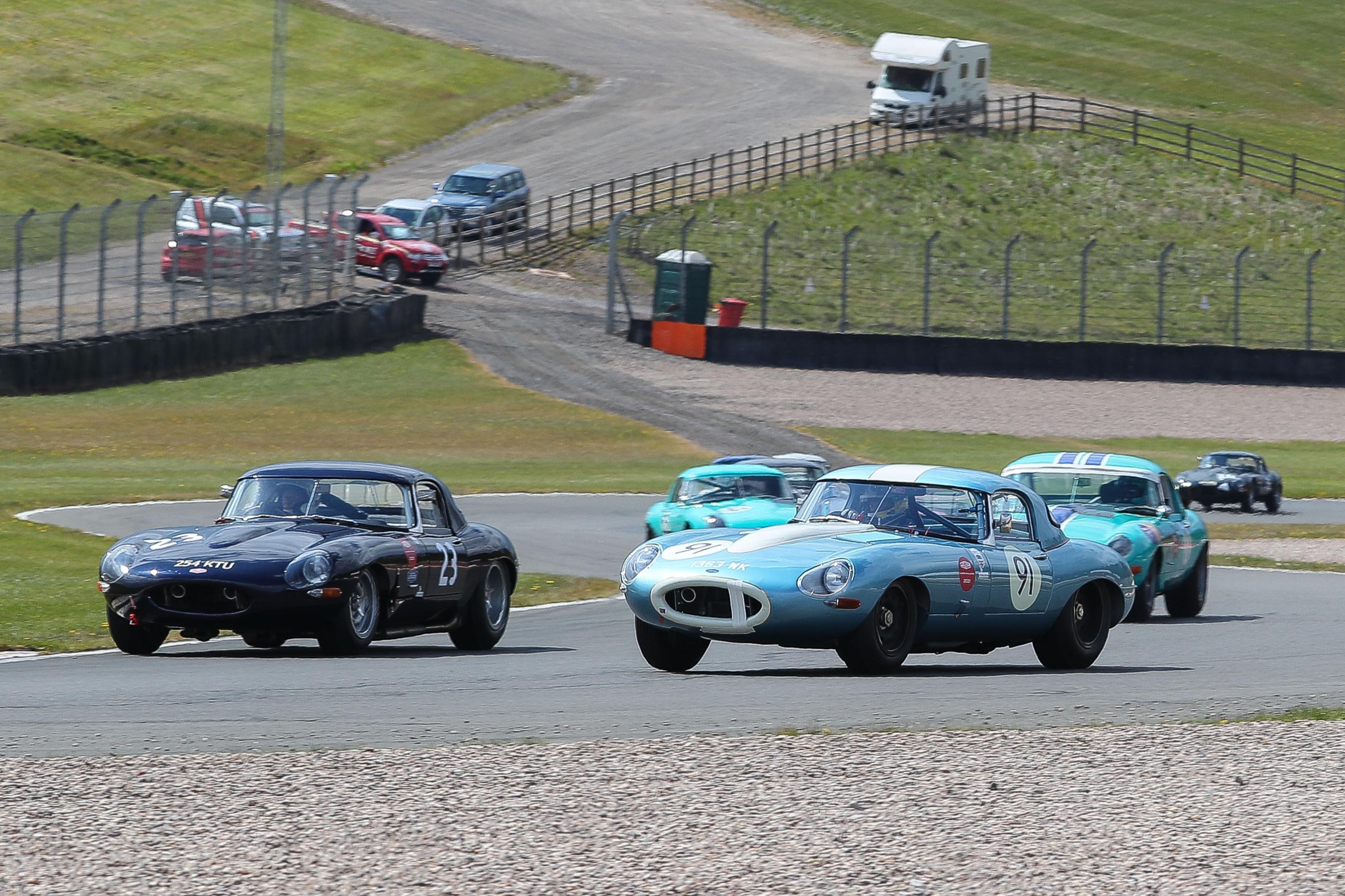 Jaguar Challenge action at Donington Historic Festival