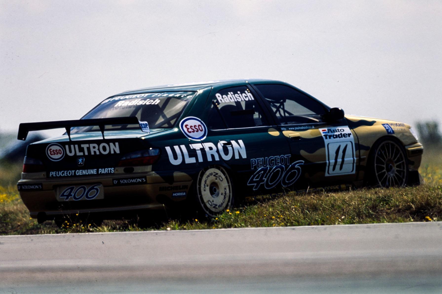 Paul Radisich's Peugeot 406 stranded at Snetterton in 1998